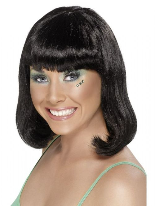 Party Wig, Black, Short, With Fringe 1